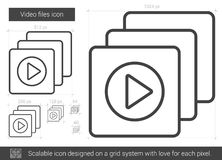 Video files line icon. Video files vector line icon isolated on white background. Video files line icon for infographic, website or app. Scalable icon designed Stock Images