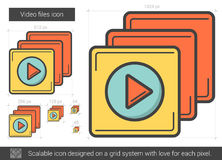 Video files line icon. Video files vector line icon isolated on white background. Video files line icon for infographic, website or app. Scalable icon designed Royalty Free Stock Photos