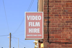Video film hire sign on wall Royalty Free Stock Image