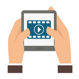 Video or film icon image. Video or film on digital device screen icon image vector illustration design Stock Photography