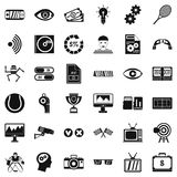 Video film icons set, simple style. Video film icons set. Simple style of 36 video film vector icons for web isolated on white background Stock Photos