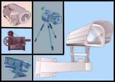 Video and films devices. Video technology set stock illustration