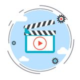 Video flat design style icon Royalty Free Stock Image