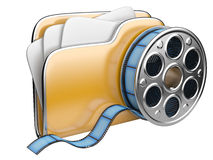 Video folder with a film reel. Stock Photo