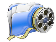 Video folder with a film reel. 3D illustration isolated on white background Royalty Free Stock Photography