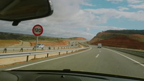 Video footage of driving on a highway in Spain stock video