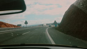 Video footage of driving on a highway in Spain. Mountings view stock video footage