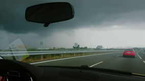 Video footage of driving on a highway in Spain. Rainy day. Clouds. stock video