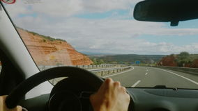 Video footage of driving on a highway in Spain. Window view stock video footage