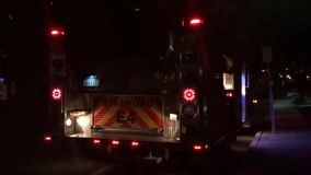 Emergency vehicle. Video footage of flashing emergency vehicle at night stock footage