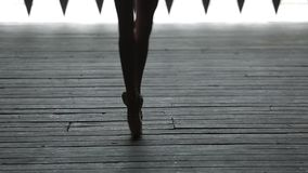 Video footage graceful ballerina dancing feet stock footage