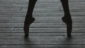Video footage graceful ballerina dancing feet stock video