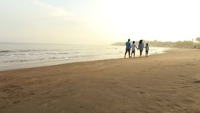 Happy family walk on sandy beach. Video footage of happy family walking together on the sandy tropical beach while holding hands and enjoying holiday stock footage