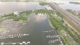 Video footage harbor with yachts and boats on the river. stock video