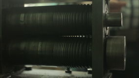 Video footage of a pressing machine for metal, manufacturing stock footage