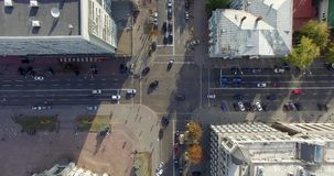 Video footage shot on quadrocopter nadir of Kiev stock video footage