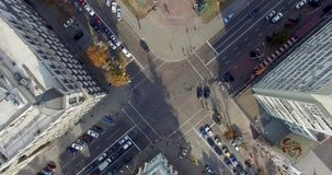 Video footage shot on quadrocopter nadir of Kiev stock video