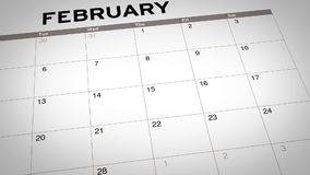 Valentines day marked on calendar. Video footage of valentine`s day date marked on a calendar in 14 February stock footage