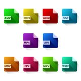 Video format icon set. Vector design of technology objects stock illustration