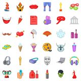 Video fragment icons set, cartoon style. Video fragment icons set. Cartoon set of 36 video fragment vector icons for web isolated on white background Royalty Free Stock Photography