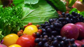 Video Fresh Vegetables, five colourful vitamin and healthy food stock footage