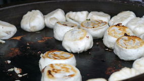 Video Fried Crispy Chinese Vegetable and pork bun Buns Recipe stock video footage