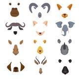Video fronti mobili dell'animale di chiacchierata Insieme di vettore isolato maschere degli animali del fumetto illustrazione vettoriale