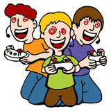 Video Game Addicted Kids royalty free illustration