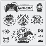 Video game club emblems, labels, icons, badges and design elements. Black and white Stock Image