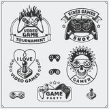 Video game club emblems, labels, icons, badges and design elements. Black and white Royalty Free Stock Photography