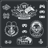 Video game club emblems, labels, icons, badges and design elements. Vector Royalty Free Stock Photos