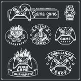 Video game club emblems, labels, icons, badges and design elements. Vector Stock Images