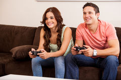 Video game competition for a date Royalty Free Stock Photography