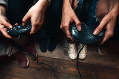 Video game competition. Leisure, tension, tourney. Royalty Free Stock Photo