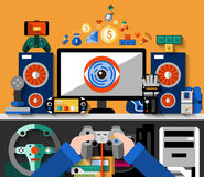 Video Game Concept. With computer table and hands holding joystick vector illustration Stock Image