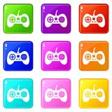 Video game console controller icons 9 set Royalty Free Stock Photo