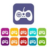 Video game console controller icons set flat Royalty Free Stock Images