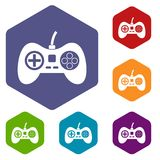 Video game console controller icons set hexagon Royalty Free Stock Photography