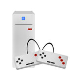 Video game console vector. Vectored illustration of video game console with pads for gaming Royalty Free Stock Photos