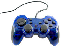 Video game controller. Blue video game controller detail for console Stock Image
