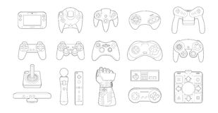Video Game Controllers Icon Set Stock Photos