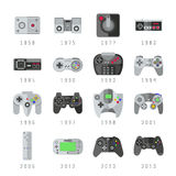 Video game controls, joystick, gamepads gaming vector icons Royalty Free Stock Images