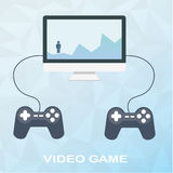 Video game on desktop with two joysticks in flat style on polygonal background. Man overcomes obstacles, climbs on mountains Royalty Free Stock Photo