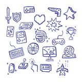 Video game doodle. Vector hand drawn style royalty free illustration