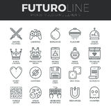 Video Game Elements Futuro Line Icons Set vector illustration