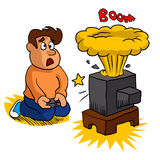 Video game exploding,boy cartoon Royalty Free Stock Image