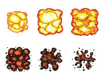 Video game explosion animation in pixel art. Explosion animation frames. Pixel explosion, bomb boom art pixel, flame animation pixel art. Vector illustration Royalty Free Stock Photography