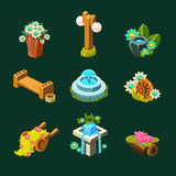 Video Game Garden Decoration Collection Of Elements. In Cute Vector Childish Style  On Dark Background Royalty Free Stock Photography