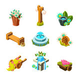 Video Game Garden Landscape Decoration Collection Of Elements Royalty Free Stock Image