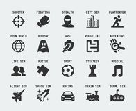 Video game genres vector icons Stock Photography